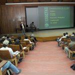 Aula Magna del Pabellón II. Participando con Los Secretarios de Extensión, Graduados y Bienestar, Diego Quesada y Leonardo Zayat de una charla de ingresantes.